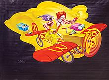 """Mural painting featuring """"Ronald Flying His Airplane"""" for McDonald's restaurant."""