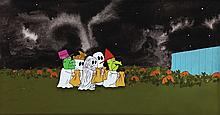 Original production cel and background from It's the Great Pumpkin, Charlie Brown.