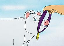Production cel from Charlotte's Web on a Hanna Barbera production background.