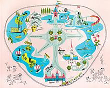 Disneyland map party kit pop-up placemat.