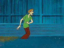 Original production cel and production background from Scooby-Doo, Where are You!