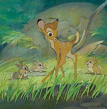 Original production cels and production background with cel overlay from Bambi.