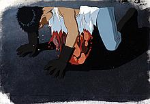 """Production cels and matching production background featuring """"Tetsuo"""" from Akira."""