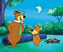 Original production cel and production background from The Yogi Bear Show.