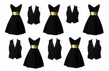(5) black and gold Sectionals performance costumes.