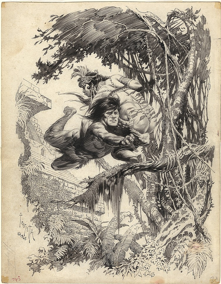 (Frazetta) Tarzan and the Castaways cover.
