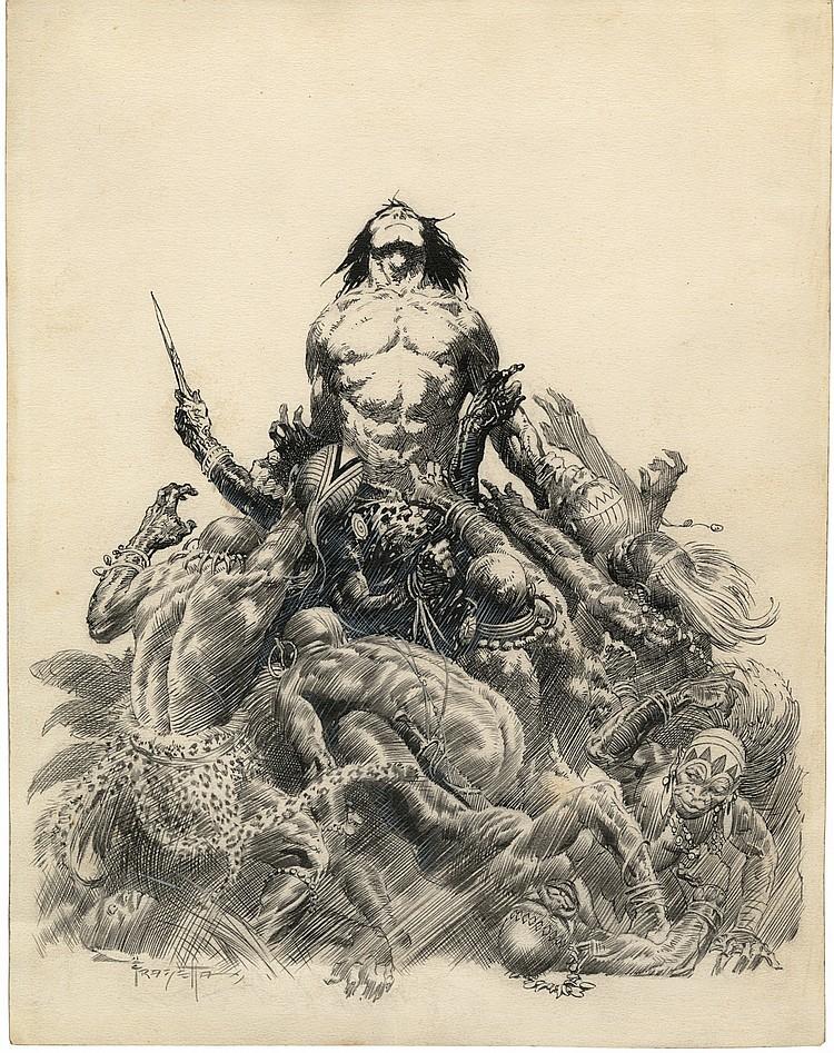 (Frazetta) Lord of the Savage Jungle.