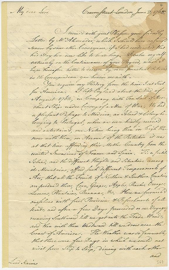 Franklin, Benjamin. Autograph letter signed (