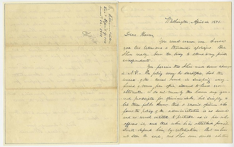 Fillmore, Millard. Rare autograph letter signed as President, 3 pages (10 x 8 in.; 254 x 203 mm.)