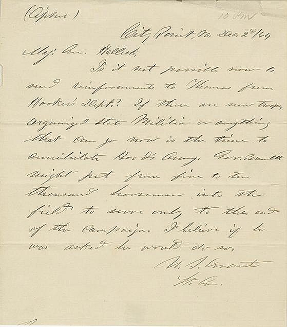Grant, Ulysses.  Autograph letter signed, 1 page, (8 3/4 x 7 3/4 in.; 222 x 197 mm).