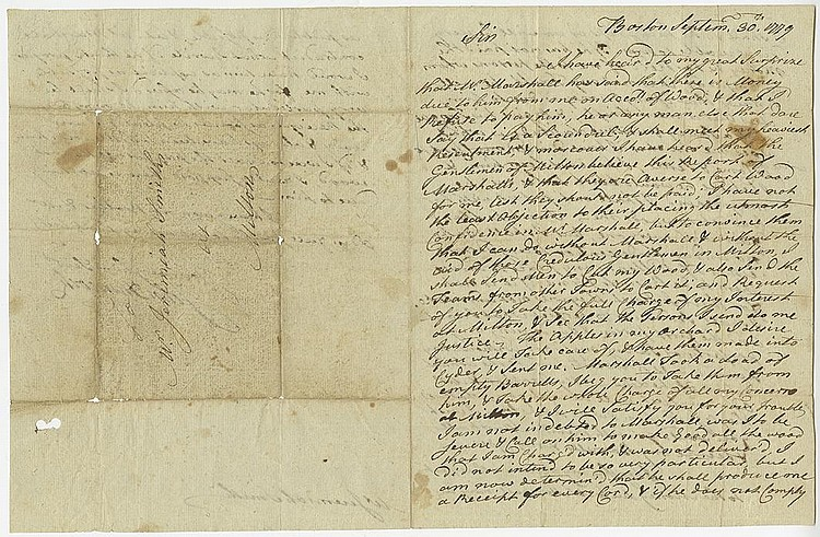 Hancock, John. Autograph letter signed, 3 pages, (9 3/8 x 7 1/8 in.; 238 x 181 mm.)