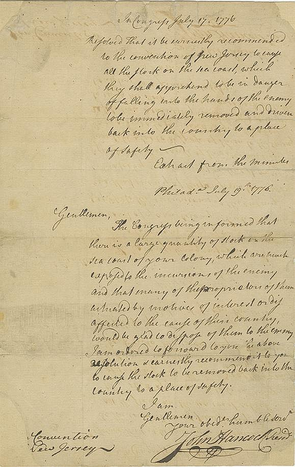Hancock, John. Letter signed as President of the Continental Congress, 1 page (12 5/8 x 8 in.)