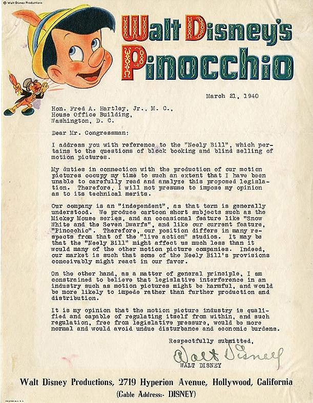 Disney, Walt. Typed letter signed, 1 page, (11 x 8 ½ in.; 279 x 216 mm.)