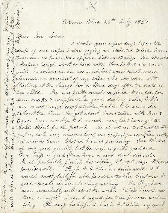 Brown, John. Autograph letter signed, 1 page (9 7/8 x 7 7/8 in.; 251 x 200 mm.)