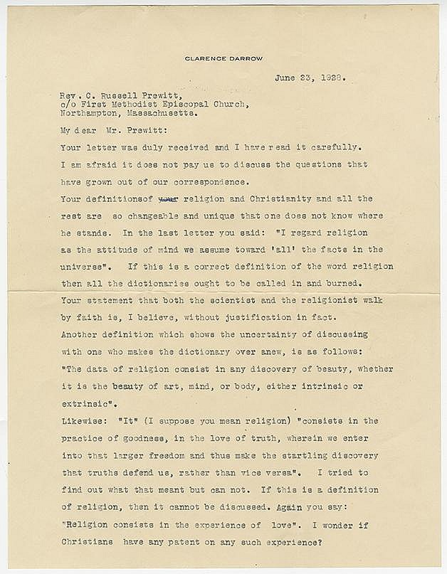 Darrow, Clarence. Two typed letters signed, 5 pages and 4 pages (11 x 8 ½ in.; 279 x 216 mm.)