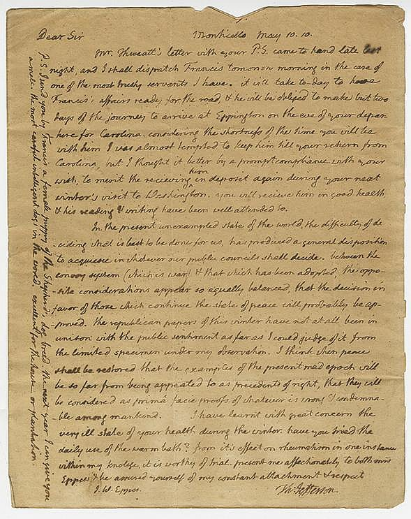 Jefferson, Thomas. Autograph letter signed (
