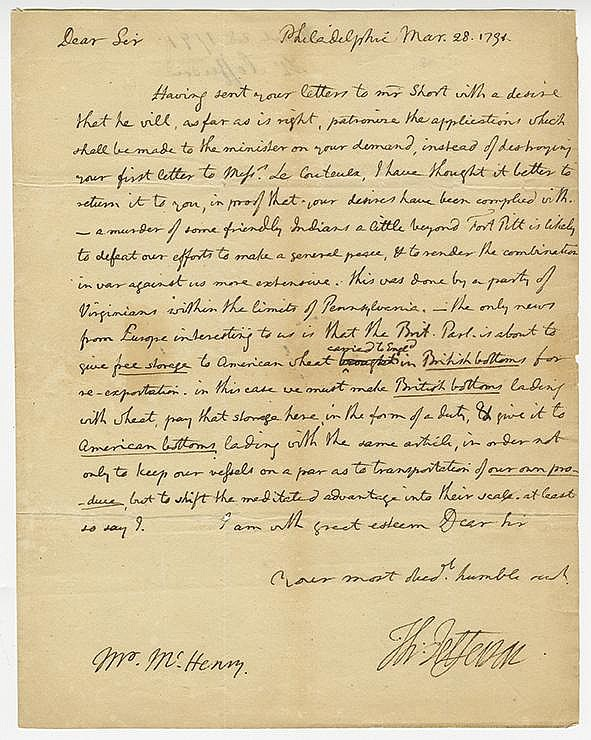 Jefferson, Thomas. Fine autograph letter signed, 1 page (10 x 7 7/8 in.; 254 x 200 mm.)