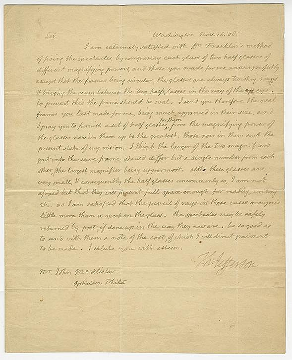 Jefferson, Thomas. Autograph letter signed as President, 1 page (9 ¾ x 7 7/8 in.; 248 x 200 mm.)