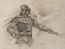 Darth Vader original concept artwork by Tom Jung for  Star Wars: Episode V-The Empire Strikes Back.