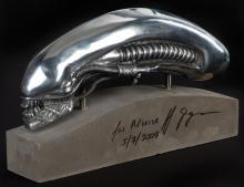 H.R. Giger signed Xenomorph Alien head sculpture.