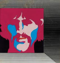 George Harrison production cel on a production background from Yellow Submarine.