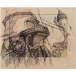 Original background layout drawing from Gulliver's Travels