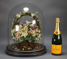 Victorian Wax Sculpture Flower Basket & Glass Dome