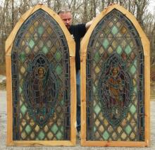 Pair Large Gothic Arched Stained Glass Windows