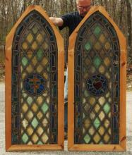 Pair Gothic Arched Stained Glass Window