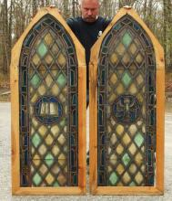 Pair Gothic Arched Stained Glass Windows
