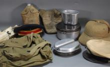 WWII Army Hats Backpacks Canteens Pith Helmet