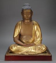 Japanese Edo Period Carved Gilt Wood Seated Buddha