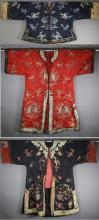 3 Chinese Qing Dynasty Embroidered Silk Robe