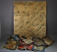 Group Chinese Silk Embroidered Texiles & Arm Bands