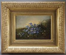 American Signed Blue Bells Still Life Painting