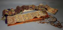 2 Antique Japanese Obi Belt Sash Tapestries