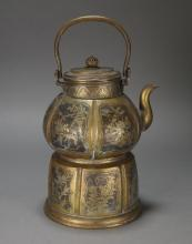 Japanese Meiji Period Brass Etched Teapot