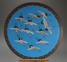 Japanese Meiji Cloisonn? Flying Crane Charger
