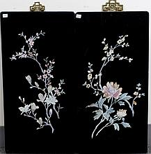 PAIR OF WOOD PANELS WITH MOTHER-OF-PEARL INLAID