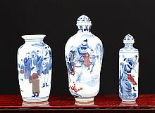 THREE BLUE AND WHITE PORCELAIN SNUFF BOTTLES