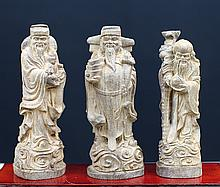 ALOEWOOD FIGURES OF THE THREE STARS OF LUCK, PROSPERITY AND LONGEVITY