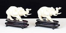 PAIR OF IVORY ELEPHANTS