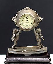 CLOCK WITH BRONZE ANGEL