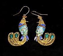 PAIR OF GILT SILVER PHOENIX EARRINGS