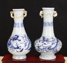 TWO BLUE AND WHITE PORCELAIN VASES