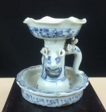 BLUE AND WHITE PORCELAIN LAMPSTANDS