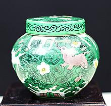 THREE-COLOUR GLAZED POTTERY COVERED POT