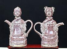 PAIR OF RED GLAZED PORCELAIN WINE POTS