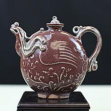 RED GLAZED PORCELAIN TEAPOT WITH PHOENIX MARK