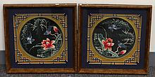 PAIR OF FRAMED EMBROID WITH FLOWER AND BIRDS MARK
